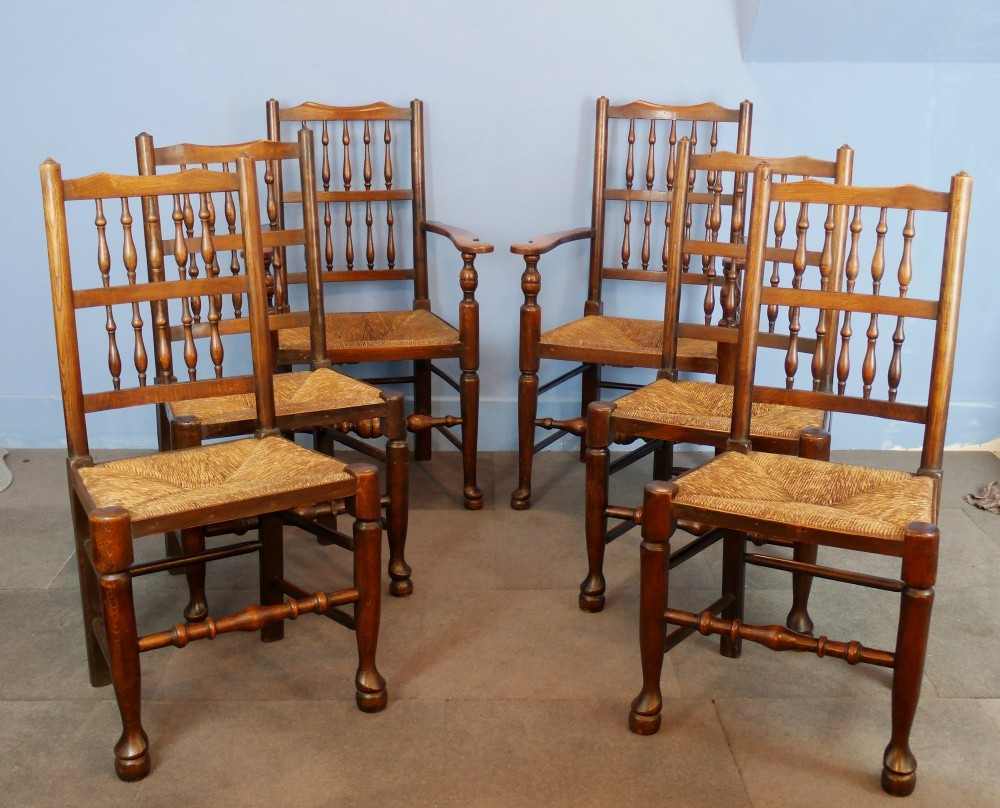 Set Of Six Spindle Back Dining Room Chairs