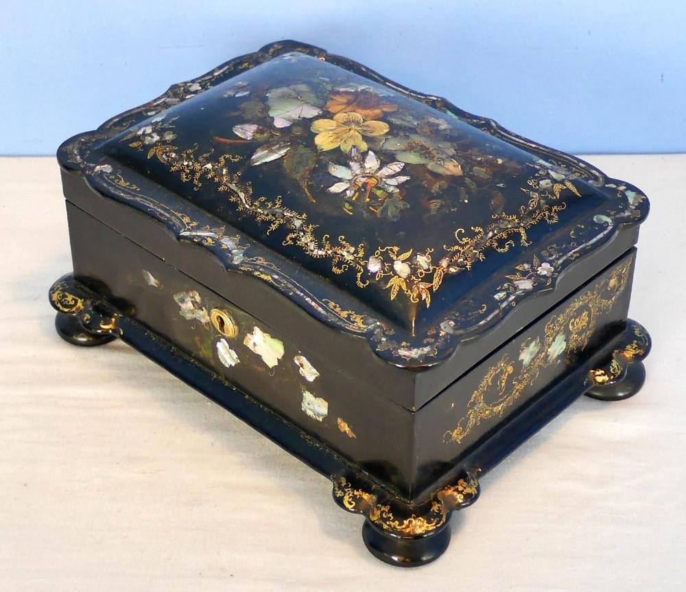 victorian papier mache jewellery box