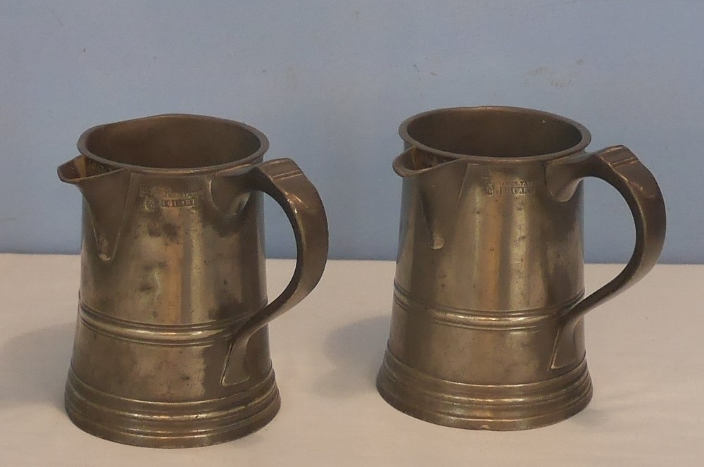 pair of victorian pewter tankards