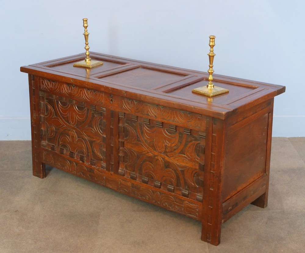 17th cent carved oak coffer