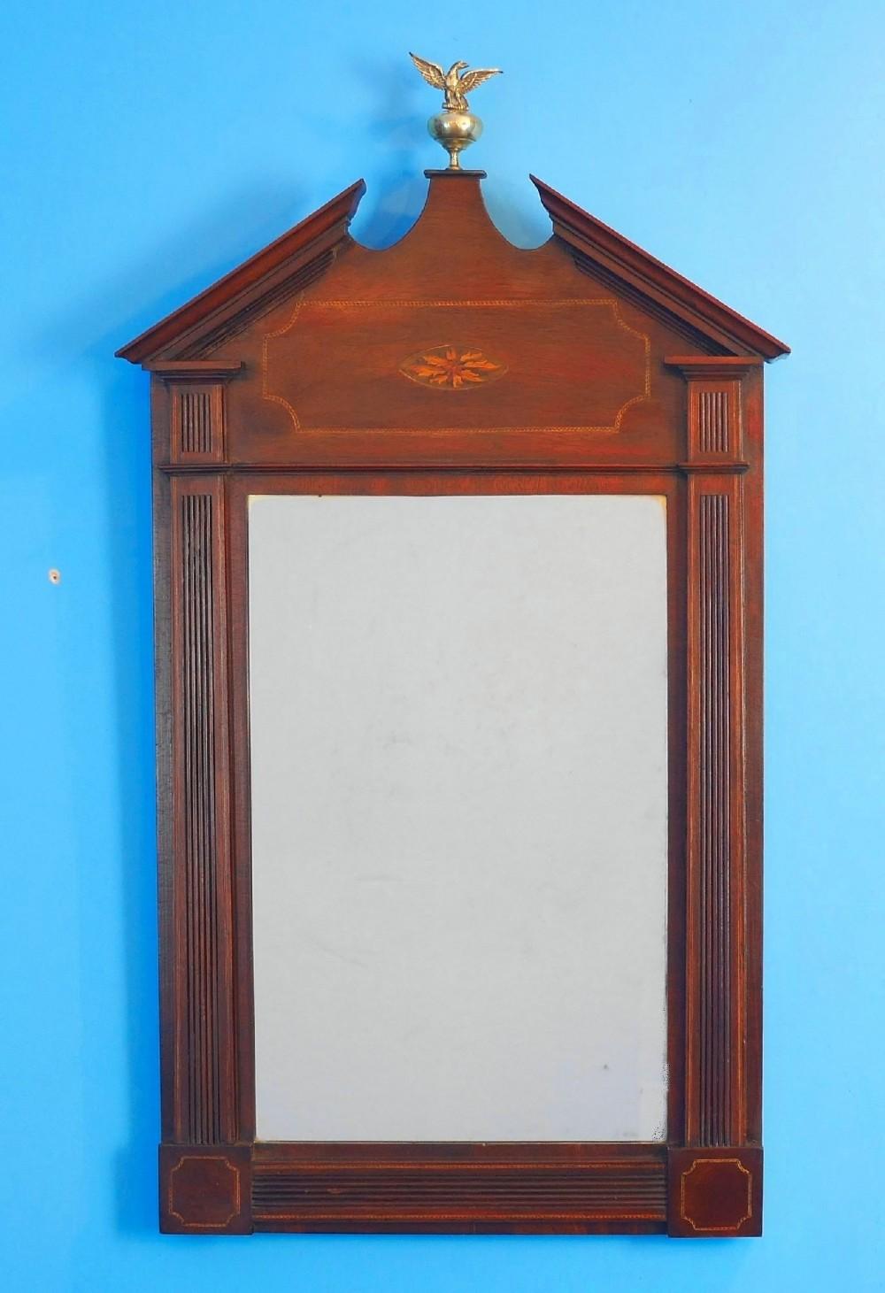 george 111 inlaid mahogany hanging wall mirror