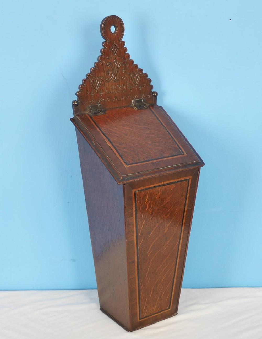 antique dated oak candle box
