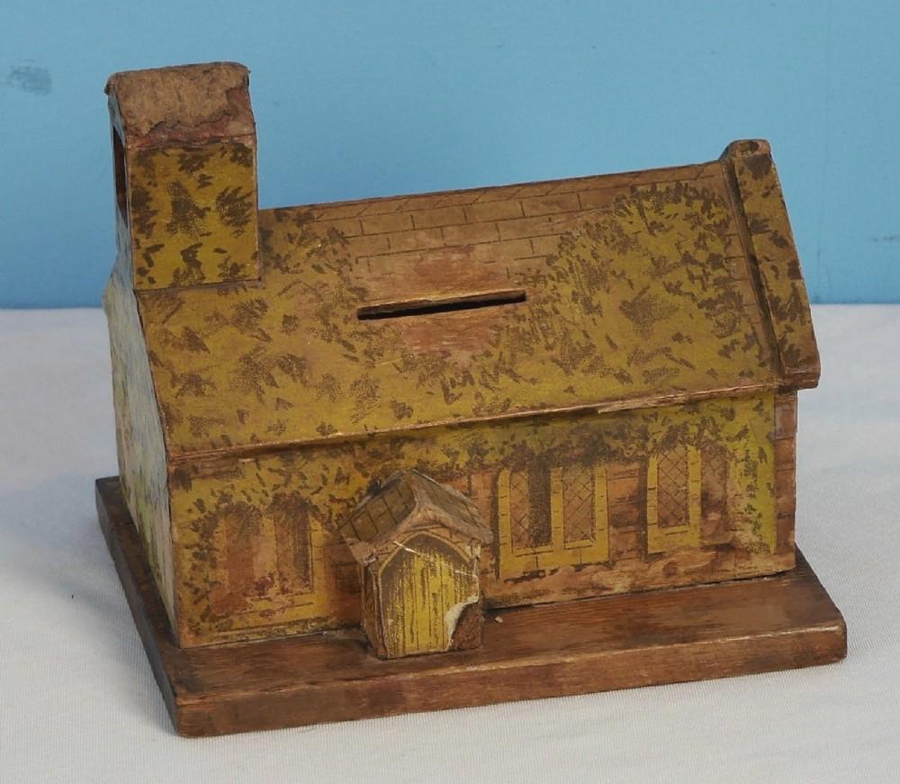 painted treen money box