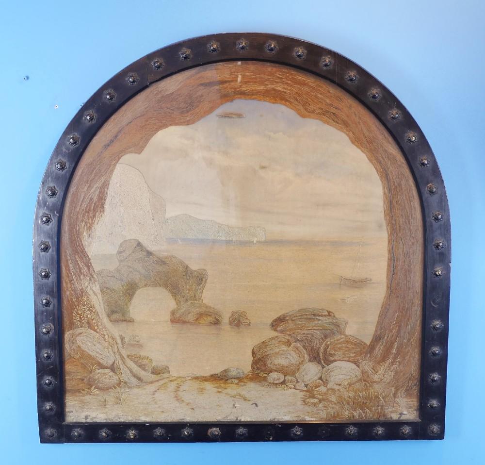 antique needle work picture of durdle door
