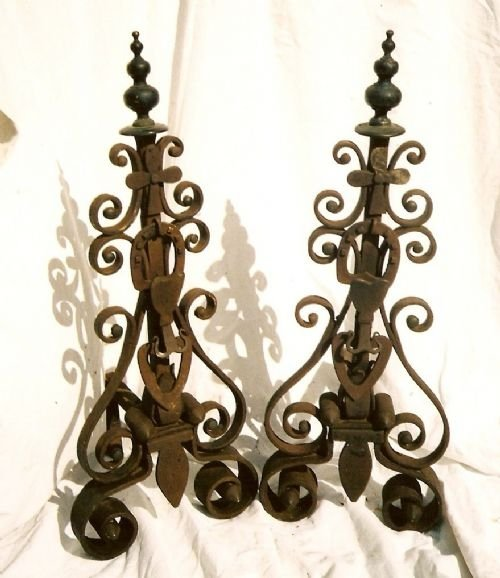 andirons wrought ironbrass