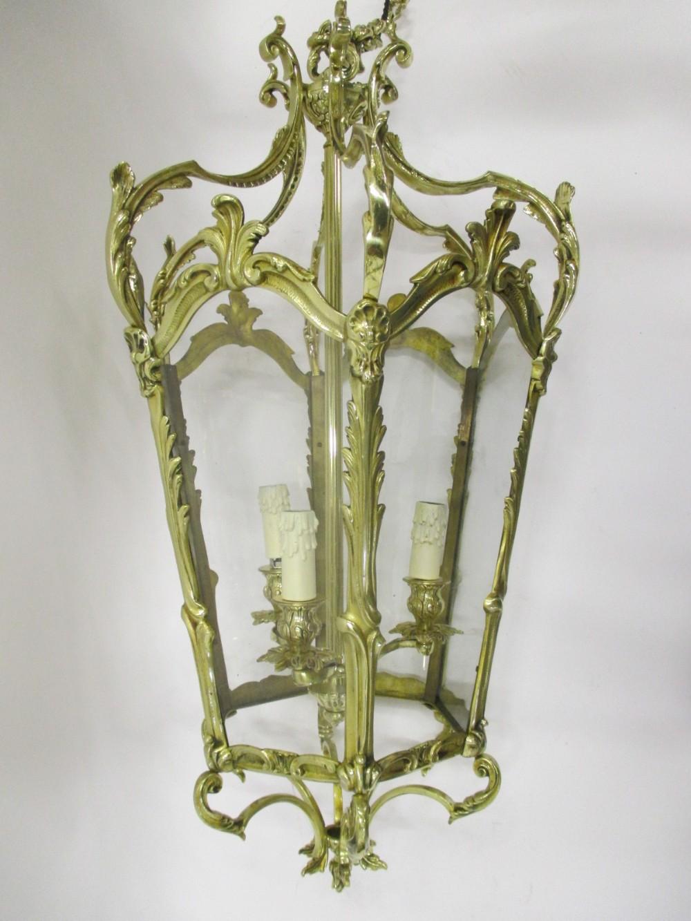 large louis xv style cast brass lantern