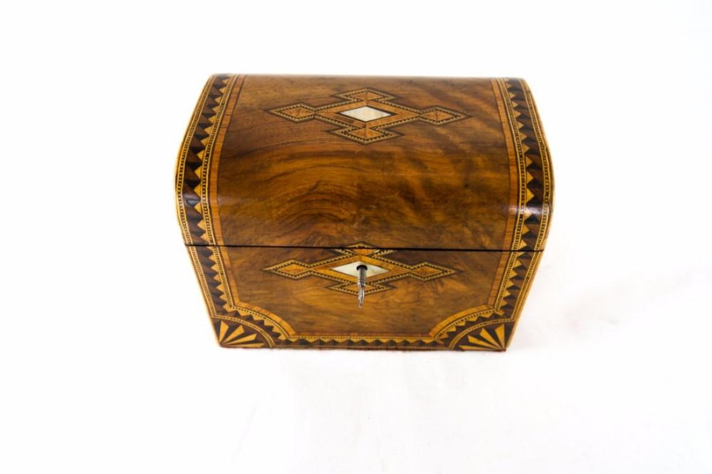 figured walnut tea caddy c1870