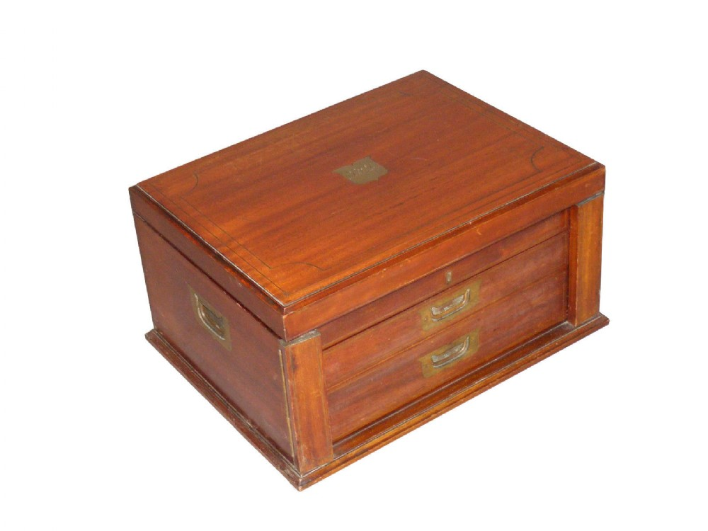 mahogany cabinet box with hinged lid trays c1925