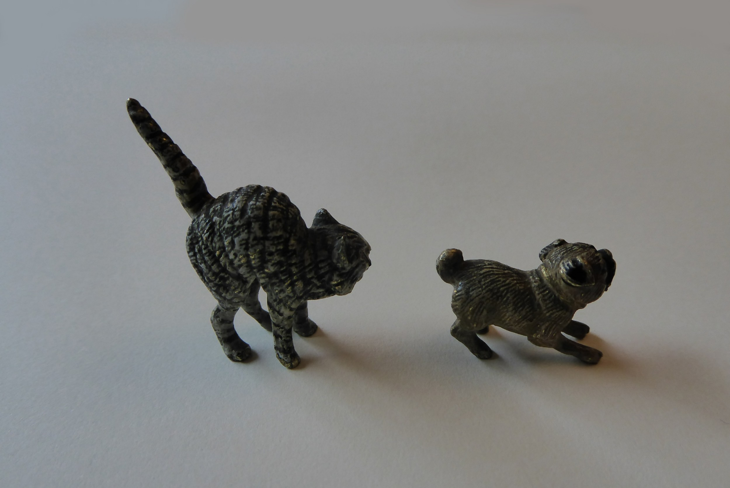 antique pair miniature austrian cold painted bronze cat and dog circa 1900