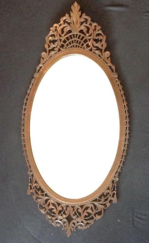 scottish mahogany fretwork oval mirror
