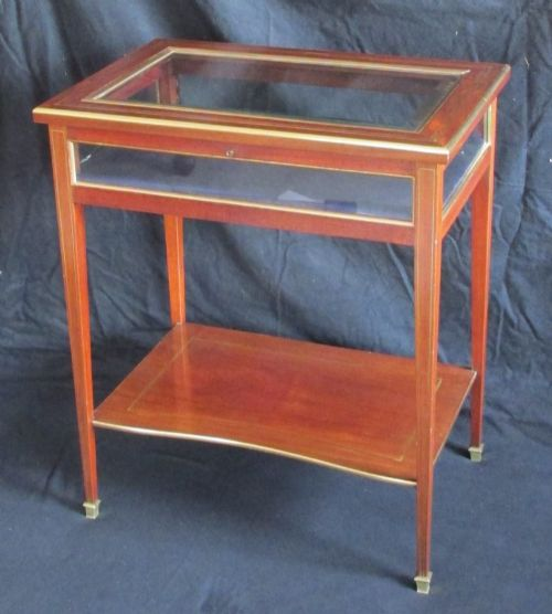 mahogany brass inlaid display table