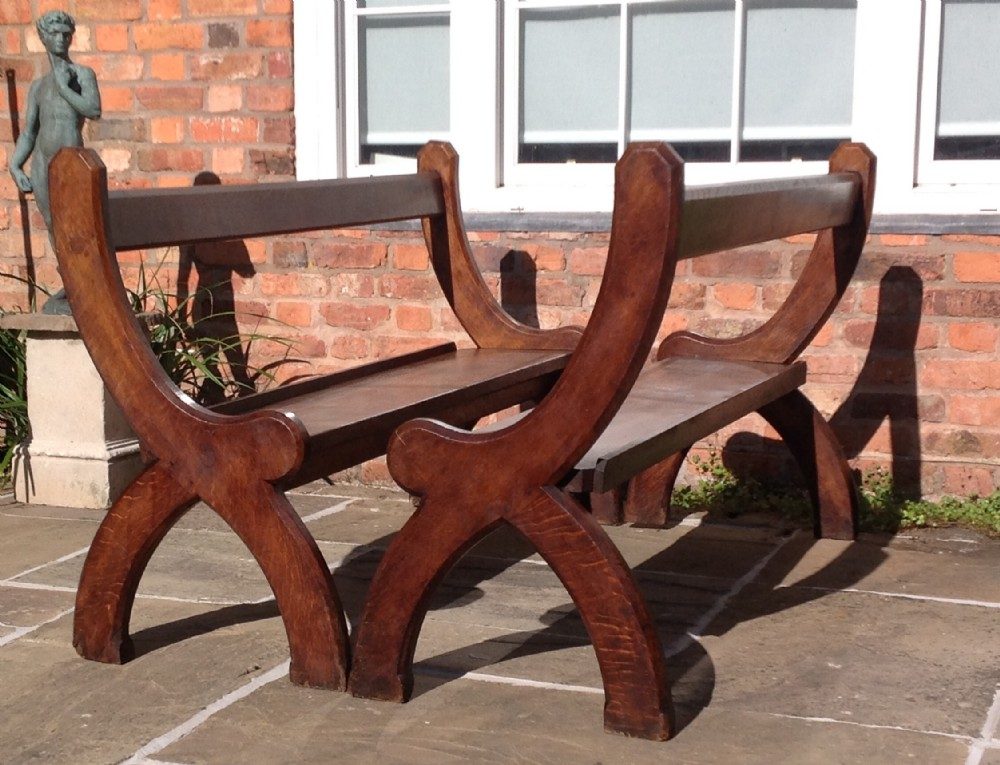 pair of gothic pugin style oak benches