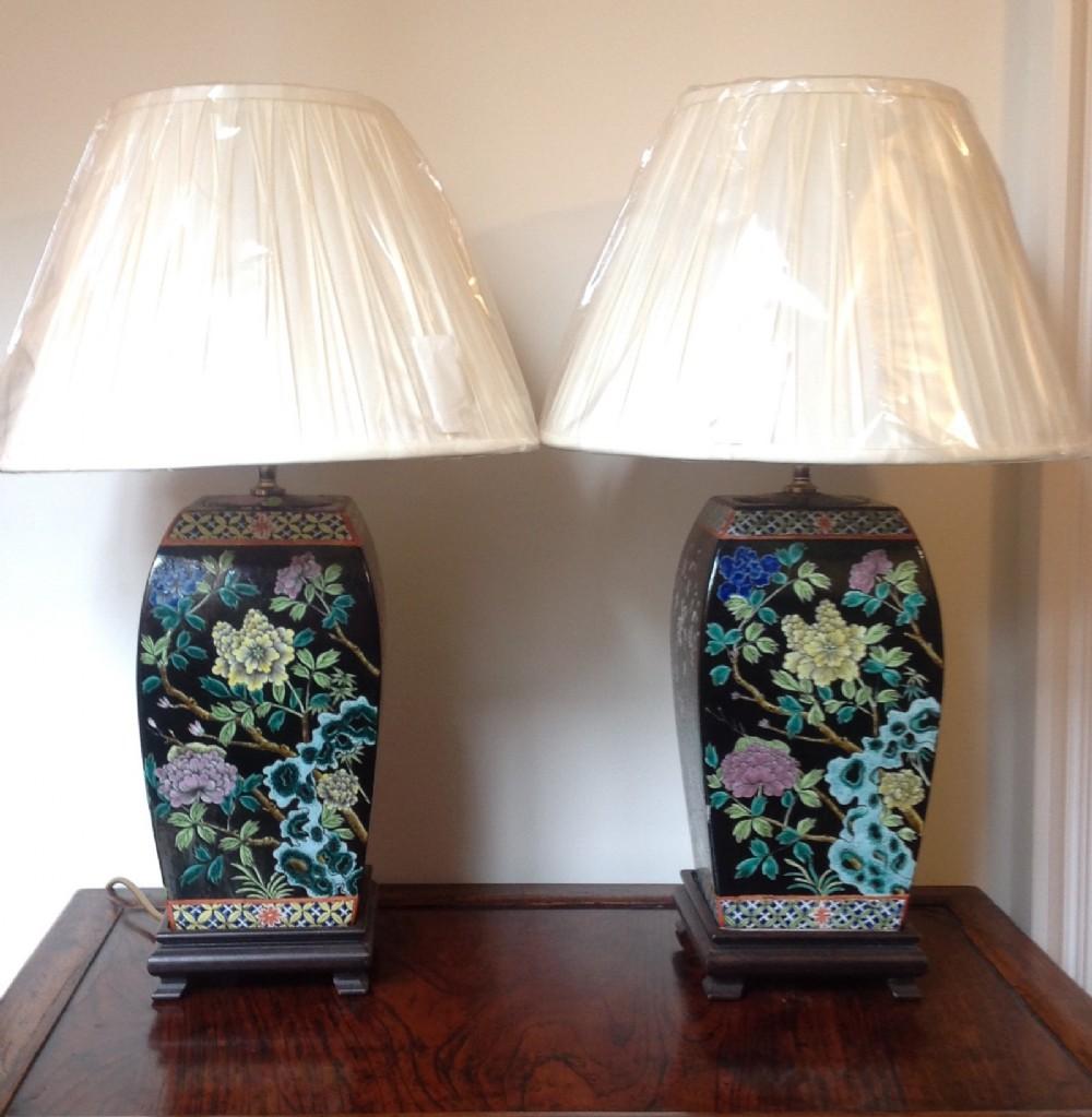 a pair of four season porcelain lampbases