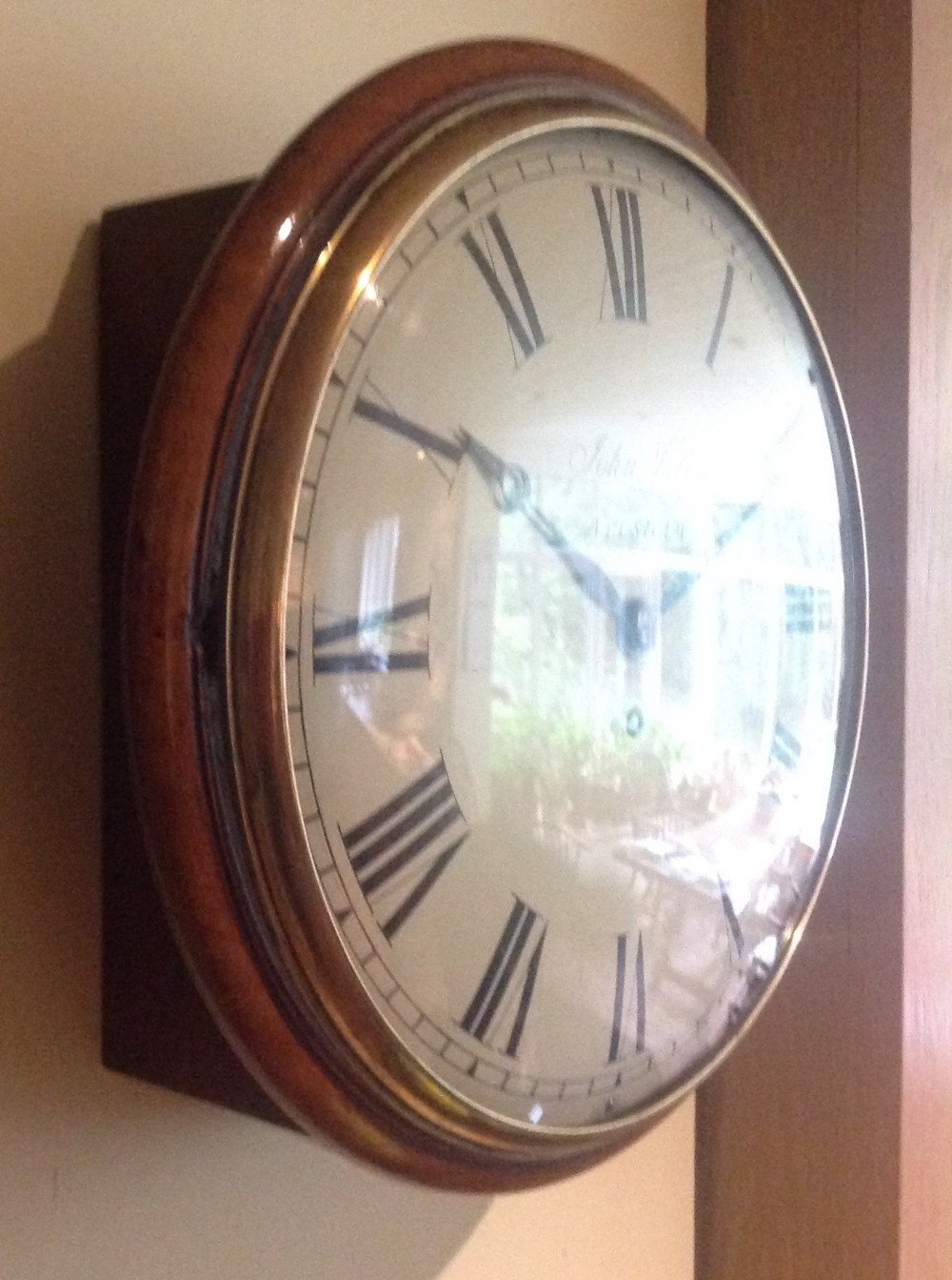 19th century mahogany 8 day wall clock