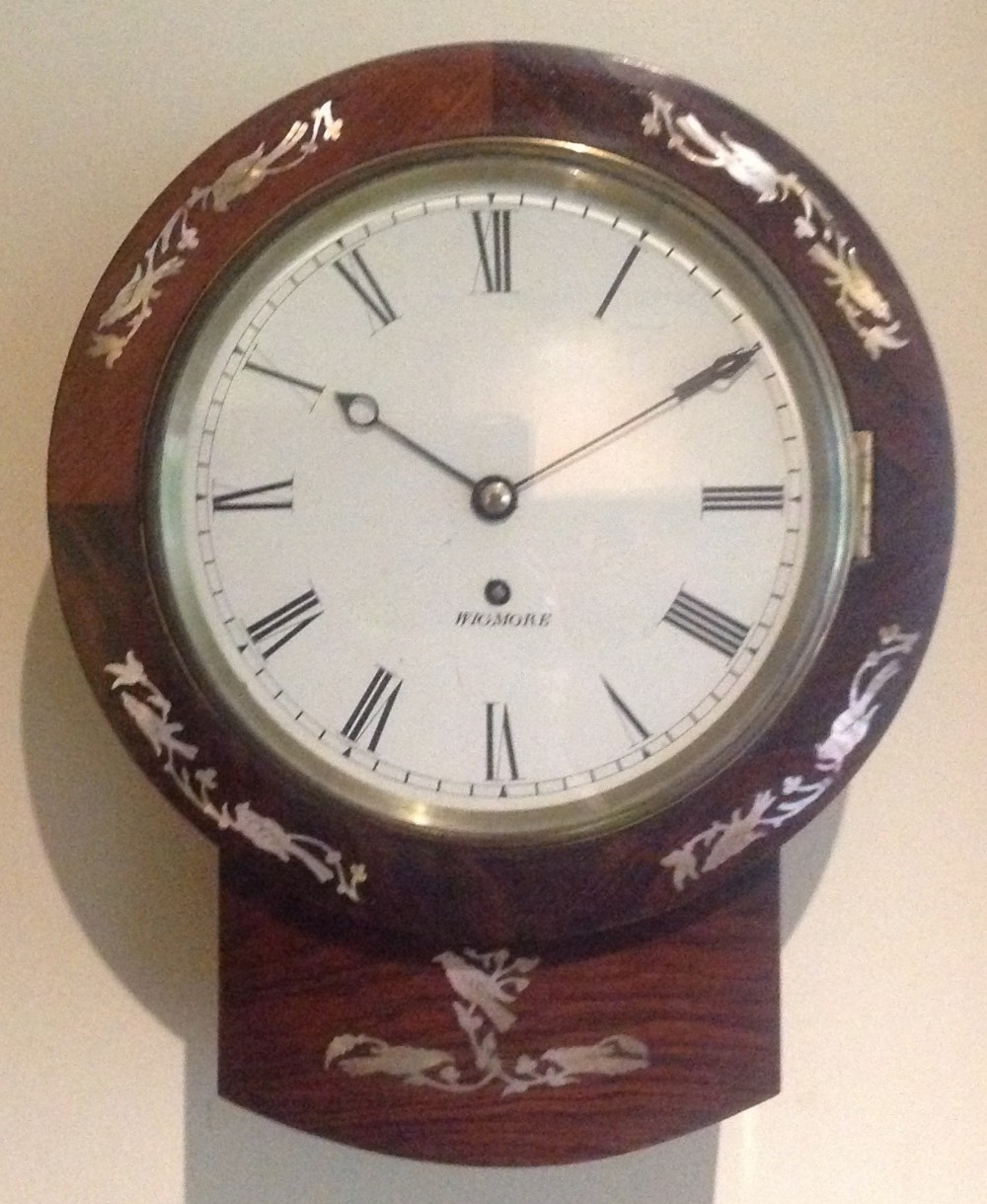 small 19th century rosewood wall clock