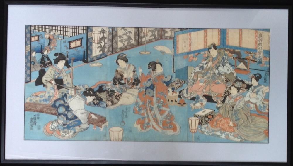 japanese woodblock prints by kunisada circa 1860