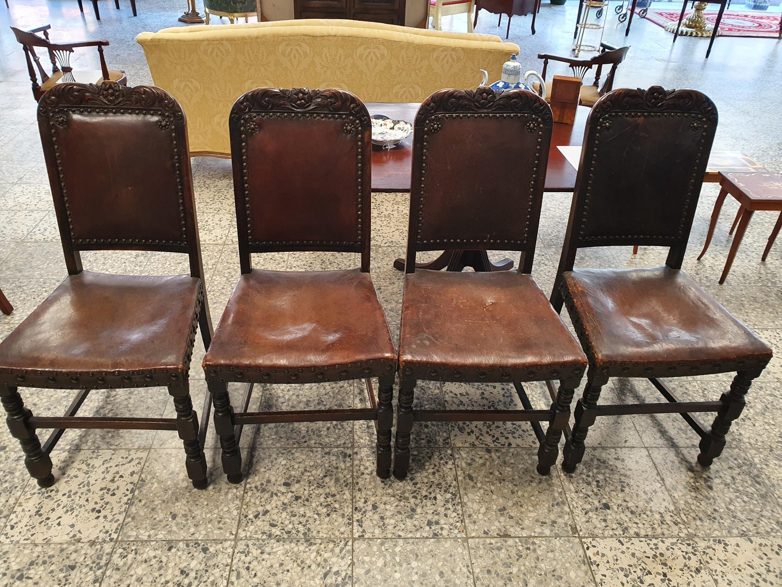 4 cromwellian leather oak dining chairs