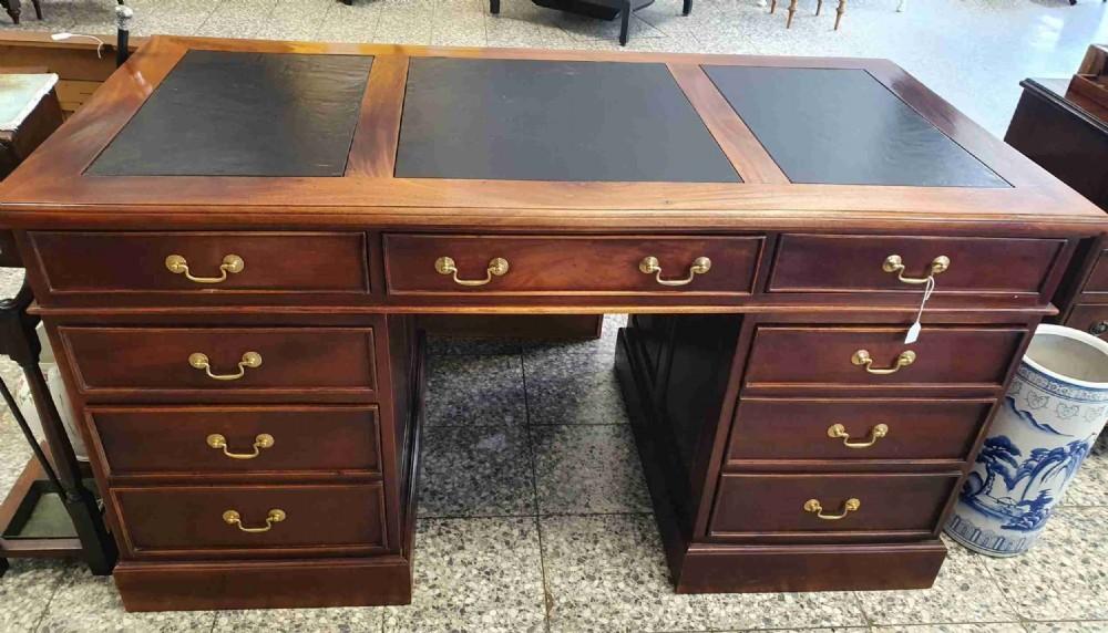 pedestal desk leather top
