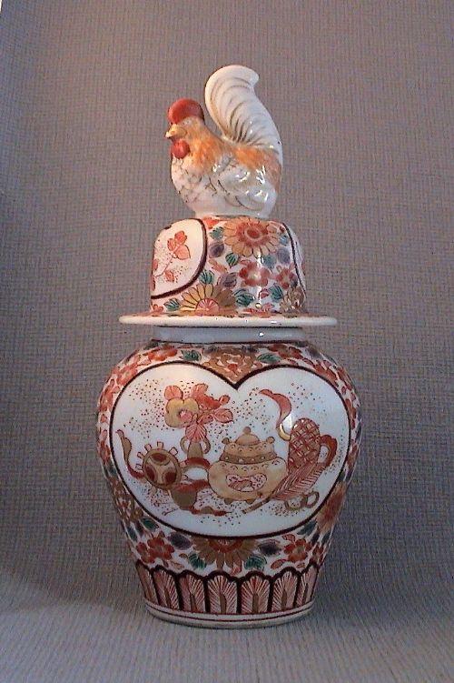 late 19c lidded kutani vase with cockerel finial