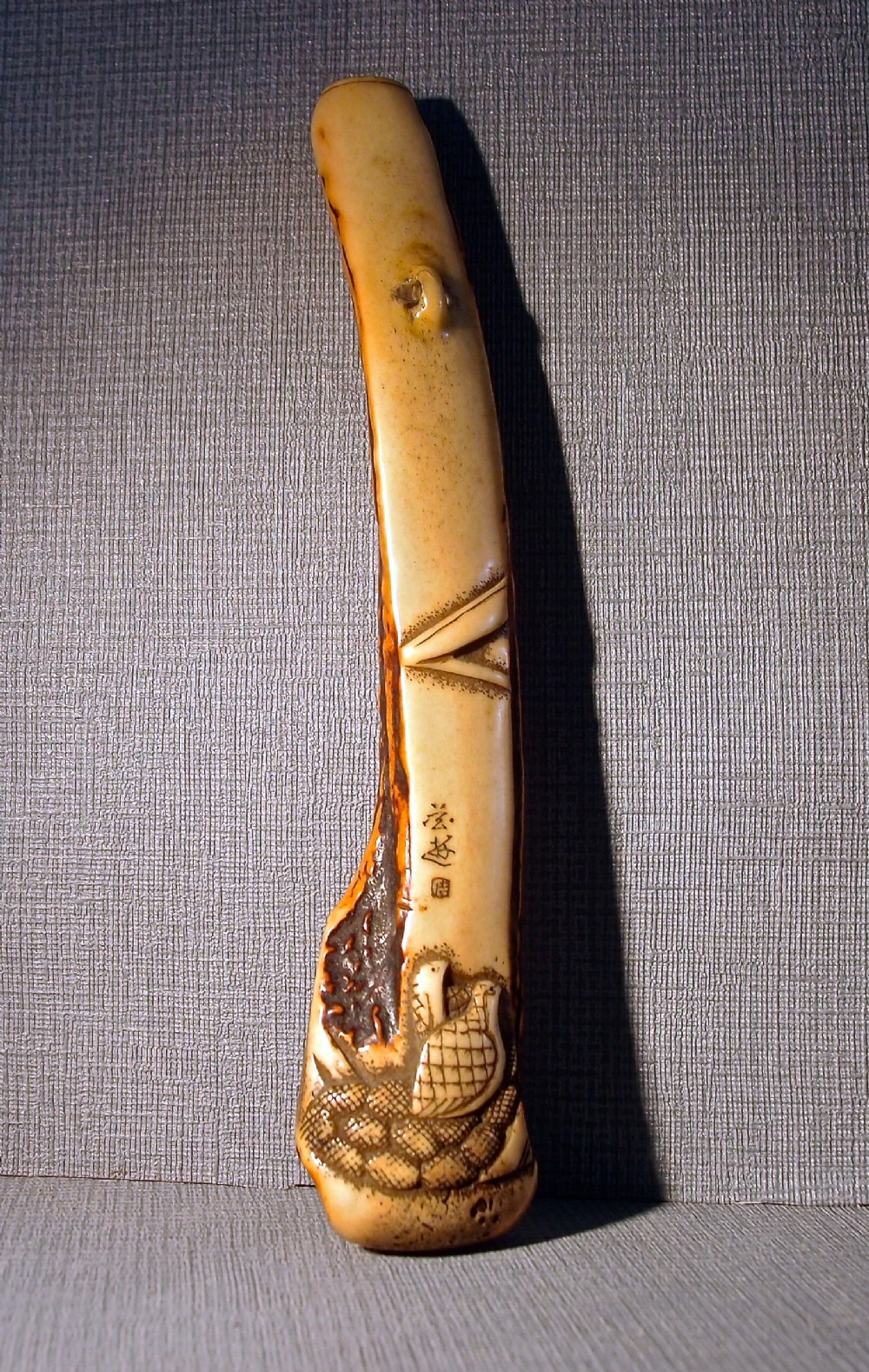 japanese 19th c stag antler pipe case quails and millet signed