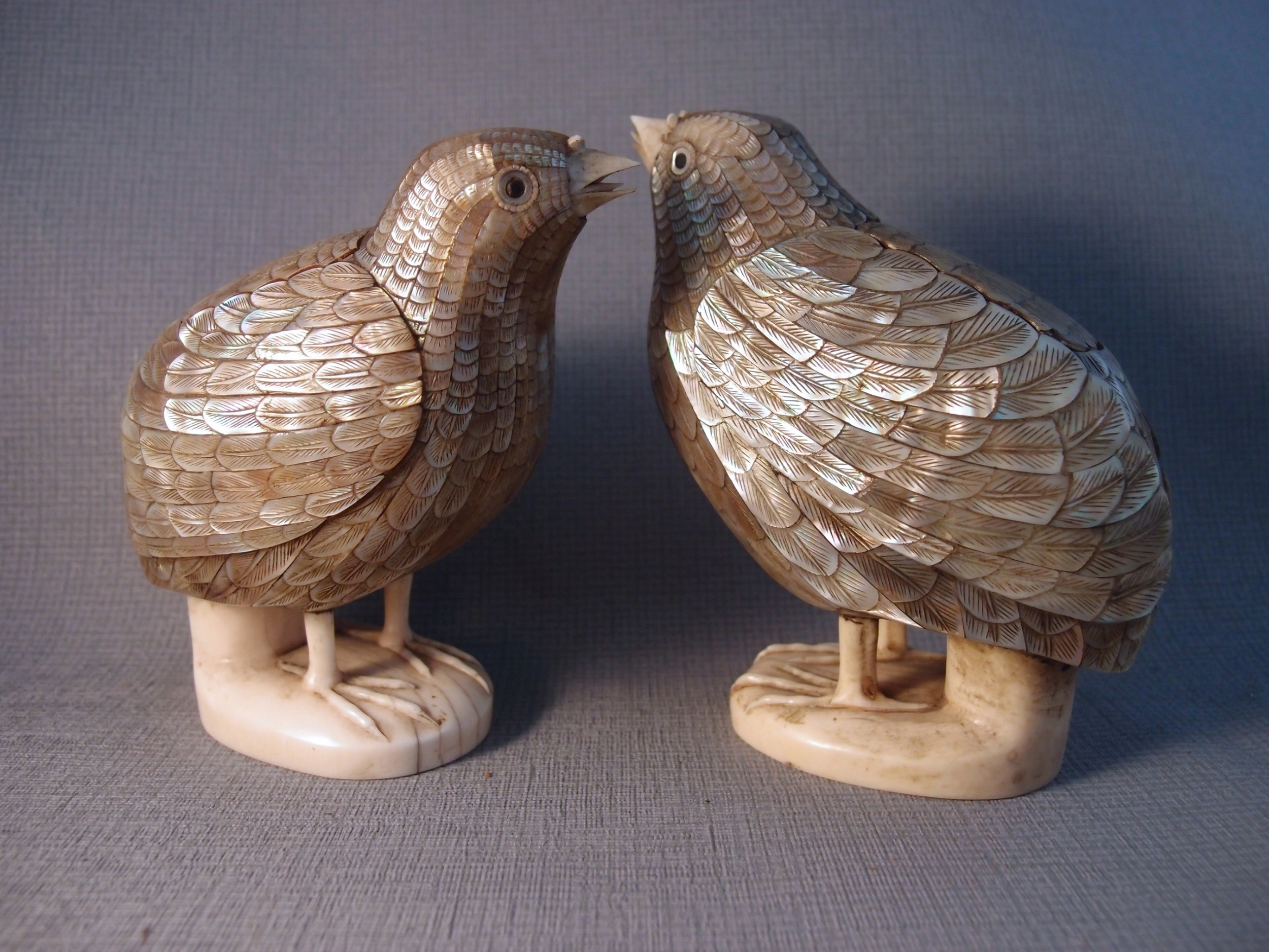 fine pair of chinese mother of pearl qianlong yu wan quail boxes