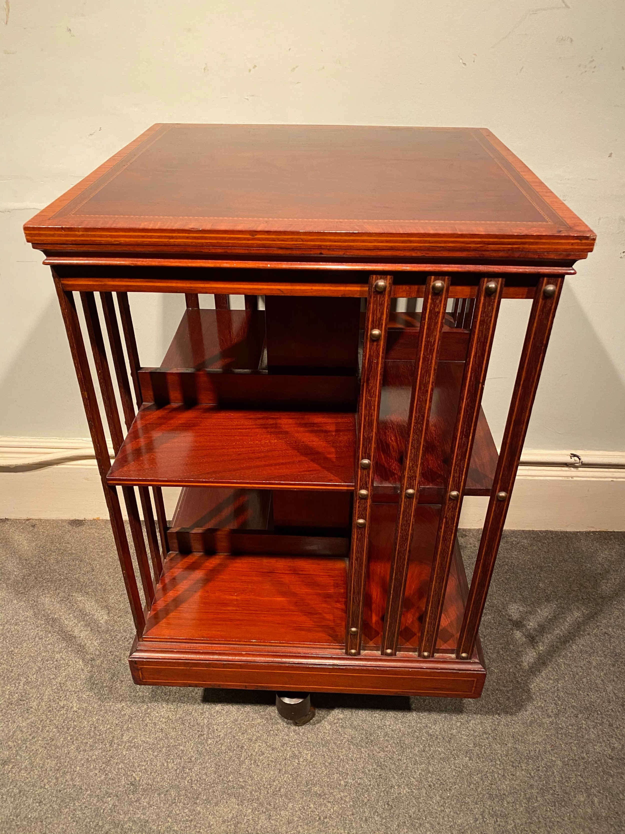 edwardian inlaid mahogany revolving bookcase by maples