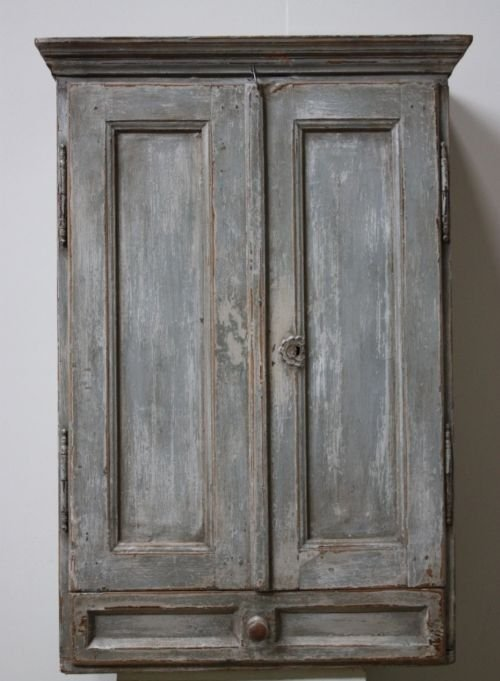 Antique Austrian Painted Pine Wall Cupboard 45117