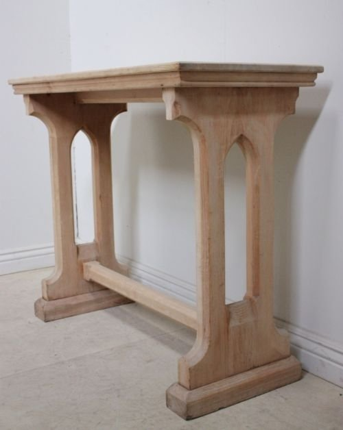 pine console table. Victorian Antique Gothic Pine Console Table