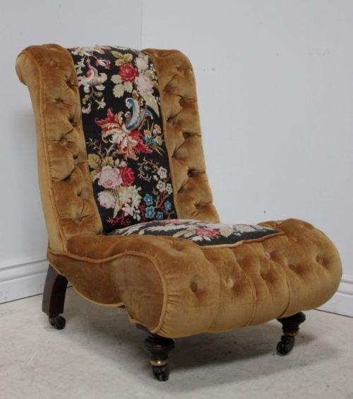 victorian antique slipper chair - Victorian Antique Slipper Chair 55640 Sellingantiques.co.uk