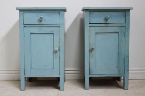 pair of antique painted pine bedside cabinets - Pair Of Antique Painted Pine Bedside Cabinets 56224