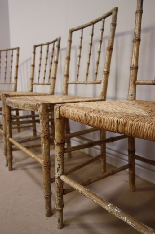 Set Of Antique Regency Simulated Bamboo Chairs | 78859 |  Sellingantiques.co.uk - - Antique Bamboo Chairs Antique Furniture