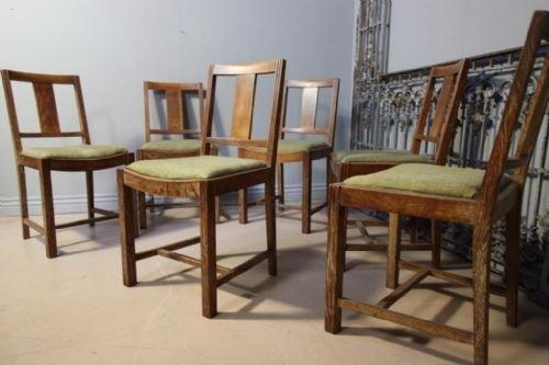 Set Of Six Heals Oak Dining Chairs