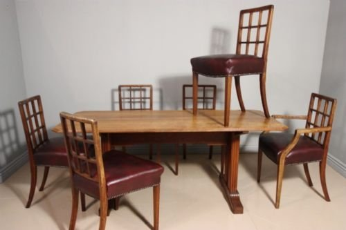Fabulous 1920S Betty Joel Walnut Dining Table Chairs 101485 Cjindustries Chair Design For Home Cjindustriesco