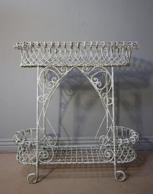 victorian antique wire work plant stand
