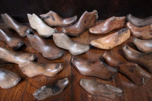 collection of victorian antique wooden shoe lasts
