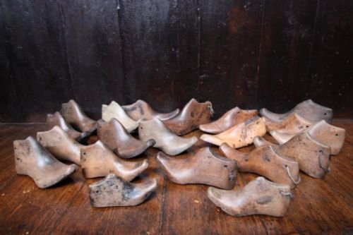 collection of victorian antique wooden shoe lasts - photo angle #2