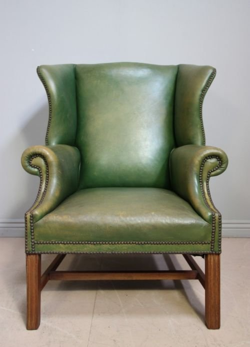 Groovy Edwardian Antique Green Leather Wing Chair 119785 Camellatalisay Diy Chair Ideas Camellatalisaycom
