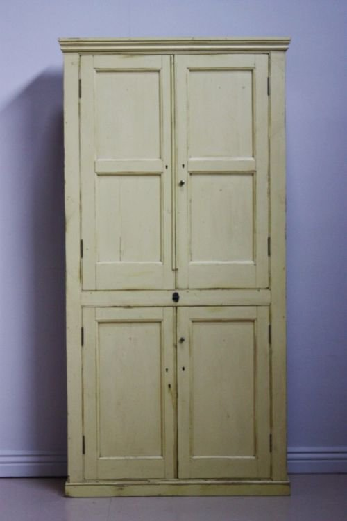19th century antique painted pine kitchen cupboard - 19th Century Antique Painted Pine Kitchen Cupboard 144023