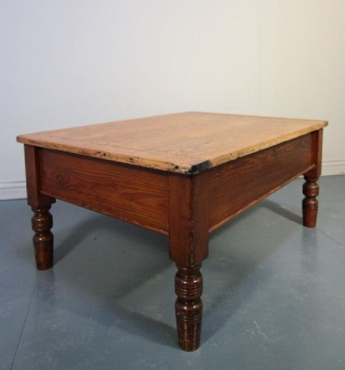 Victorian Pine Coffee Table: Victorian Antique Pine Coffee Table With Storage.