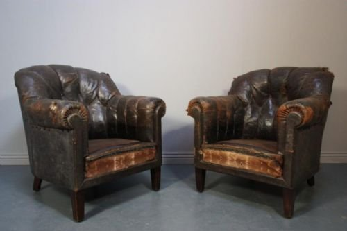 Fabulous Pair Of French Antique Leather Armchairs