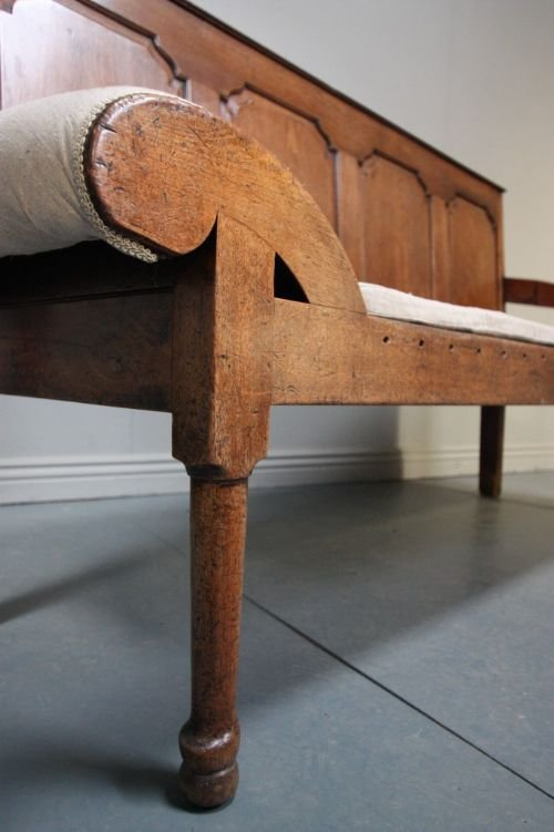 18th century antique walnut coachmans settle - photo angle #3