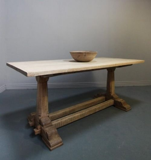bleached oak antique refectory dining table