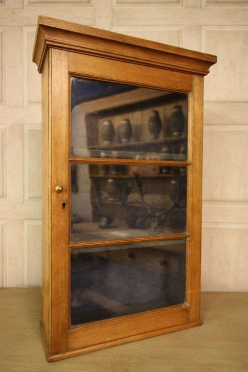 page load time 0.27 seconds - Georgian Antique Pine Wine Glass Wall Cabinet. 186455