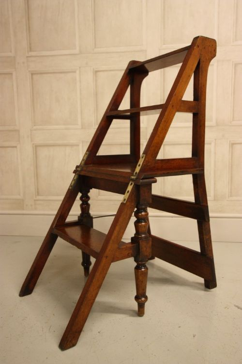 Antique Metamorphic Mahogany Library Steps Chair