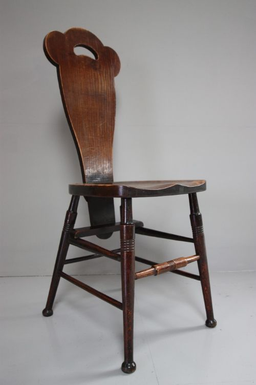 unusual antique oak hall chair attributed to birch - Unusual Antique Oak Hall Chair Attributed To Birch 221513