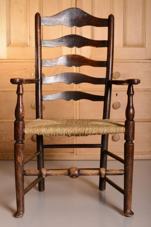 Beau 18th Century Antique Elm Ladderback Carver Chair