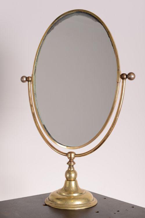 Large Edwardian Antique Brass Vanity Mirror 281512