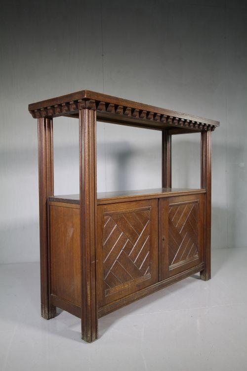 19th century antique oak buffet serving table