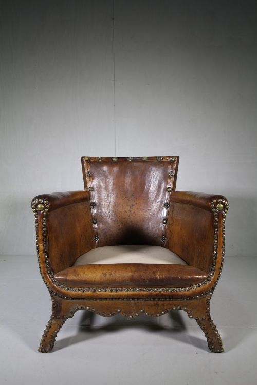 edwardian antique leather armchair