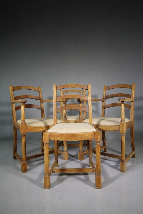 set of four 1930's heals of london oak dining chairs